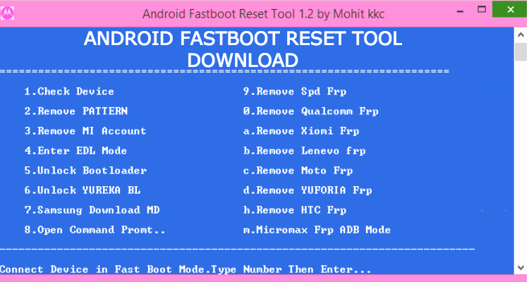 Download Android Fastboot Reset Tool v1 2 Latest Version(by Mohit KKC)